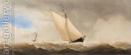 Ships In Rough Sea by Charles Taylor - Reproduction Oil Painting