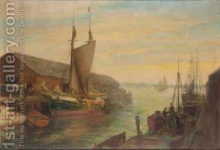 Old Wharfs, Portland Maine, Usa by Charles E. Waltensperger - Reproduction Oil Painting