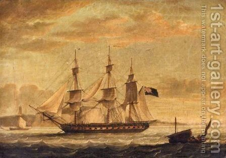 An English Man Of War Off The Coast Of Dover by (after) John Thomas Serres - Reproduction Oil Painting