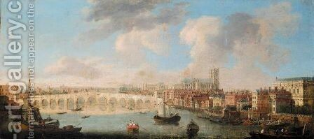 View Of The Thames And Old Westminster Bridge Looking Towards Westminster Abbey by (after) Samuel Scott - Reproduction Oil Painting