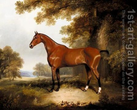 A Bay Hunter In A Landscape by Henry Barraud - Reproduction Oil Painting