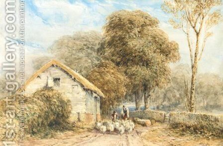 A Shepherd And Sheep By A Barn On A Country Road by David Cox - Reproduction Oil Painting