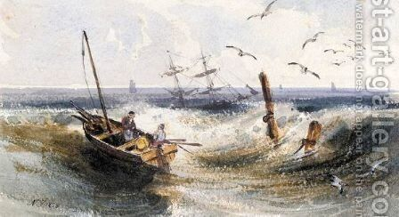 Fisherman In A Rowing Boat At Sea by Newton Fielding - Reproduction Oil Painting