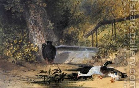 Ducks By A Pool Of Water by Newton Fielding - Reproduction Oil Painting