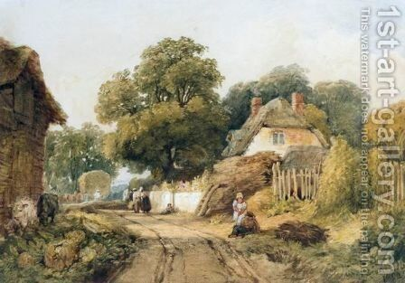 Harvesters In A Country Village by Edward Duncan - Reproduction Oil Painting