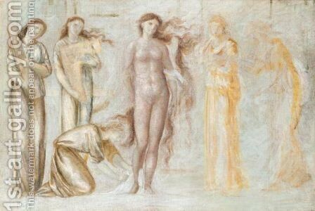 Study For 'The Court Of Venus' by Sir Edward Coley Burne-Jones - Reproduction Oil Painting