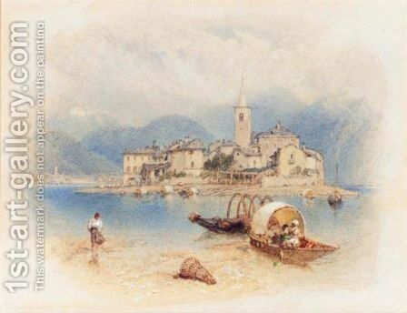 Fisherman's Island, Lake Maggiore by Myles Birket Foster - Reproduction Oil Painting