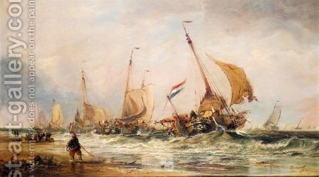 The Fishing Fleet Heading Out by Edwin Hayes - Reproduction Oil Painting