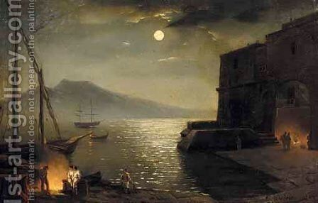 Italian Coastal Scene by (after) Silvestr Fedosievich Shchedrin - Reproduction Oil Painting