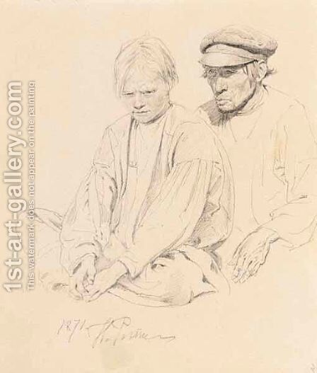 Study Of Peasant Boy And Man by Ilya Efimovich Efimovich Repin - Reproduction Oil Painting