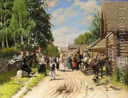 Russian Provincial Village by Aleksandr Vladimirovich Makovsky - Reproduction Oil Painting