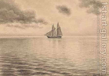 Ship Sailing In Calm Seas by Albert Nikolaevich Benois - Reproduction Oil Painting