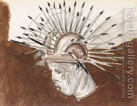 Negro In A Headdress by Alexander Evgenievich Yakovlev - Reproduction Oil Painting