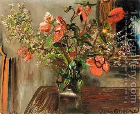 Still Life With Poppies by Boris Dmitrievich Grigoriev - Reproduction Oil Painting