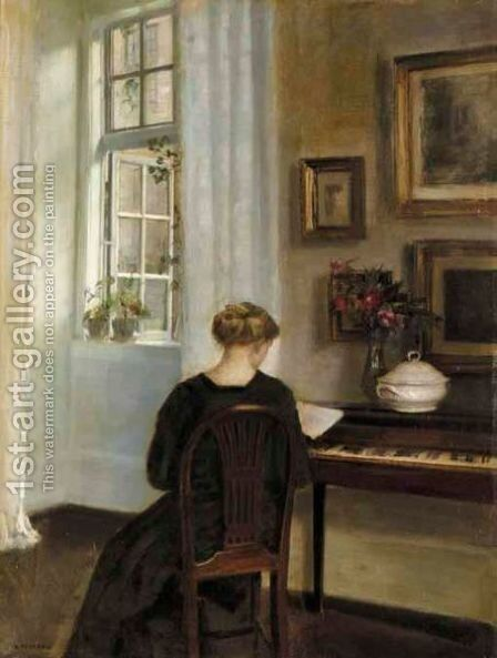 A Girl Reading Beside An Open Window by Carl Vilhelm Holsoe - Reproduction Oil Painting