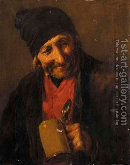 Portrait Of An Old Man Drinking by Nicholas Gysis - Reproduction Oil Painting
