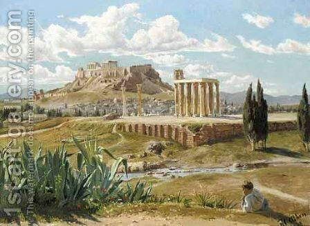 Overlooking The Acropolis by Harold Jerichau - Reproduction Oil Painting