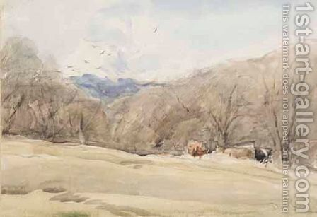 Cattle On A Wooded Bank by David Cox - Reproduction Oil Painting