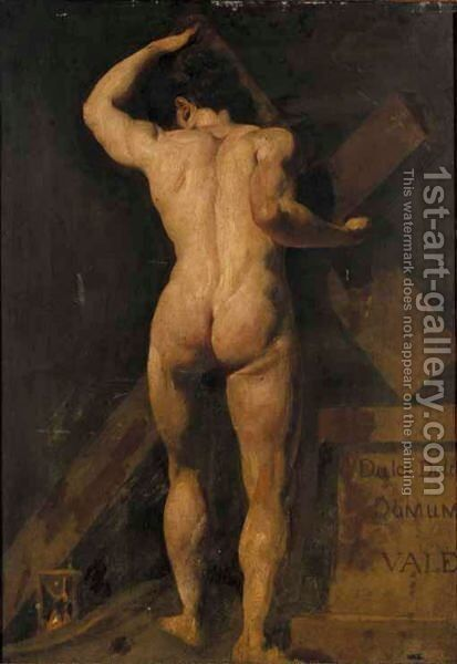 Study Of A Male Nude, Holding A Cross, With A Hour Glass By His Feet, And A Plinth To The Right by (after) William Etty - Reproduction Oil Painting