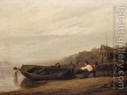 Hauling In The Boat by (after) William Collins - Reproduction Oil Painting