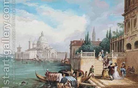 Santa Maria Della Salute by (after) Edward Pritchett - Reproduction Oil Painting