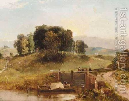 Canal Lock Near Bristol by (after) James Baker Pyne - Reproduction Oil Painting
