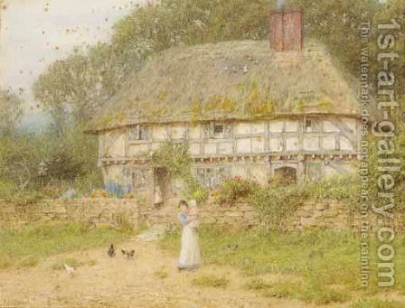 An Old Surrey Cottage by Helen Mary Elizabeth Allingham, R.W.S. - Reproduction Oil Painting