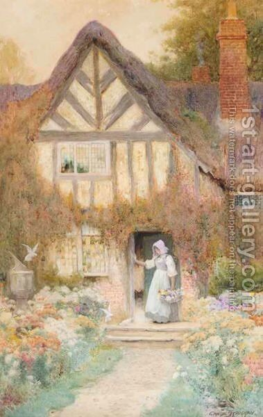 At The Cottage Steps by Arthur Claude Strachan - Reproduction Oil Painting