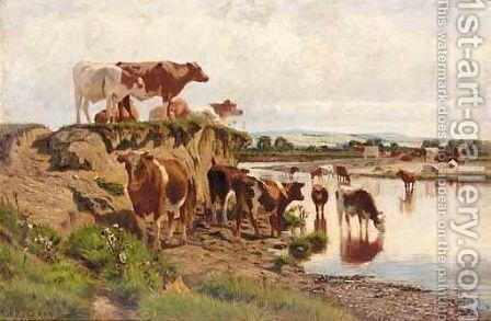 Cattle Watering by Augustus Nicholas Burke - Reproduction Oil Painting