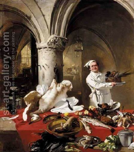 The Chateau Kitchen by Charles Hoguet - Reproduction Oil Painting