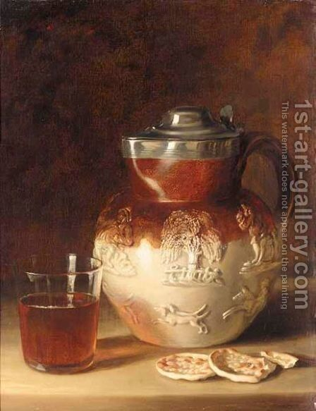 Still Life With Jug, Glass And Crackers by Continental School - Reproduction Oil Painting