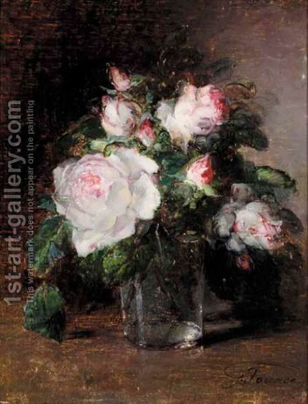 Still Life Of Roses by Guillaume-Romain Fouace - Reproduction Oil Painting