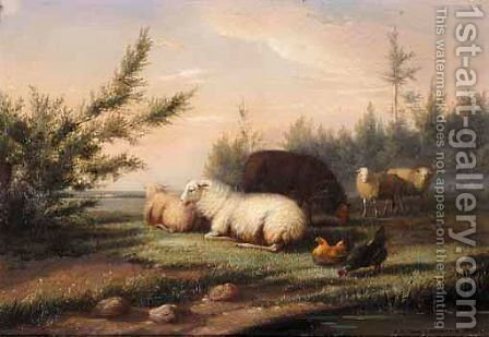Sheep And Chicken by Jan Van Leemputten - Reproduction Oil Painting