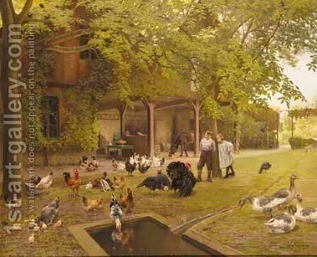 A French Farmyard With Poultry And Children by Charles Bertrand D'entraygues - Reproduction Oil Painting
