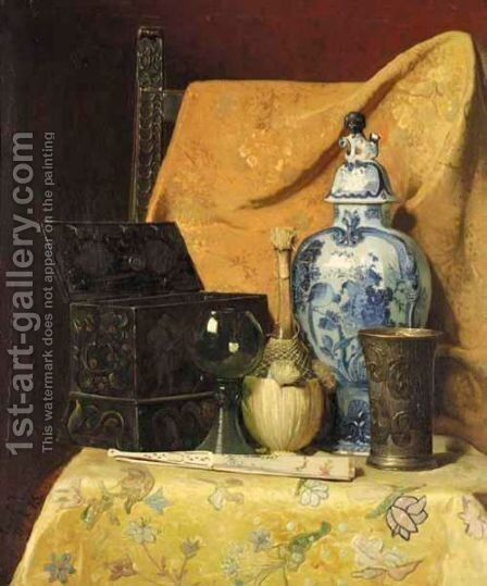 Still Life With Fan And Oriental Vase by Axel Henrik Hulle - Reproduction Oil Painting