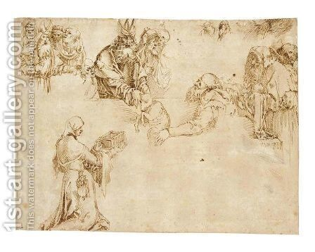 Sheet Of Figure Studies by (after) Durer or Duerer, Albrecht - Reproduction Oil Painting