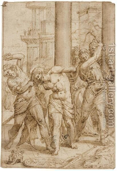 The Flagellation Of Christ by Italo-Flemish School - Reproduction Oil Painting