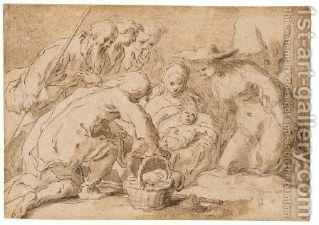 The Adoration Of The Shepherds 2 by Abraham Bloemaert - Reproduction Oil Painting