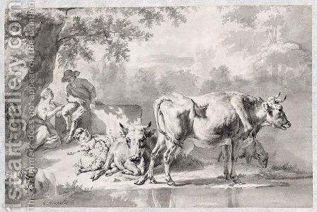 A Shepherd Couple And Their Animals Resting Under A Tree By A Pond by (after) Adriaen Van De Velde - Reproduction Oil Painting