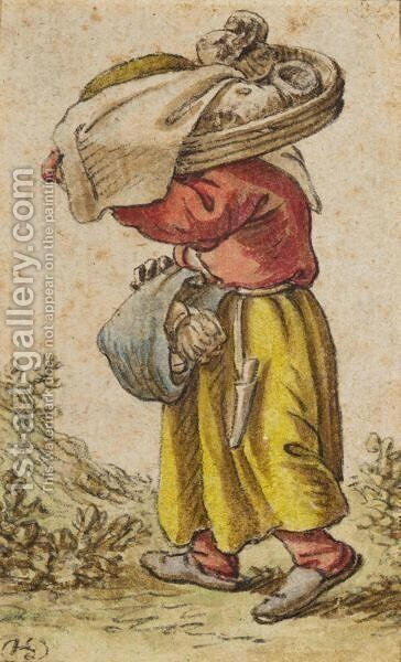 Peasant Woman Walking To The Left, Carrying Goods In A Basket And Sling by Herman Saftleven - Reproduction Oil Painting