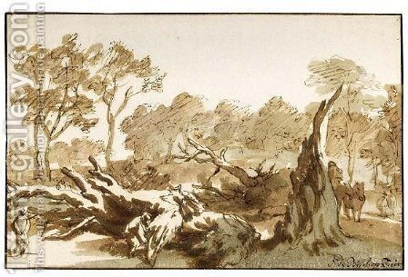 Riders And Figures By A Fallen Tree In The 'Haagse Bos' by Jan de Bisschop - Reproduction Oil Painting