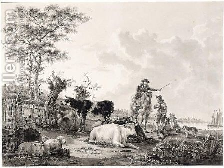 River Landscape With A Rider Conversing With A Shepherd, And Cows And Sheep In The Forground by Jacob van Strij - Reproduction Oil Painting