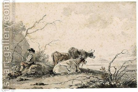 Landscape With Herdsman And Cows Resting by Jacob van Strij - Reproduction Oil Painting
