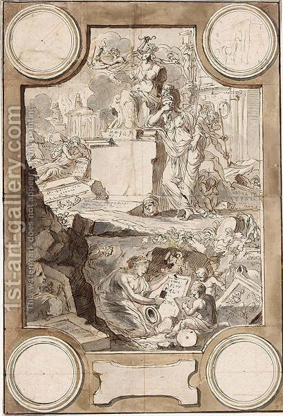 Design For A Frontispiece An Allegory Of The Decline Of Classical Civilization by Jan Goeree - Reproduction Oil Painting
