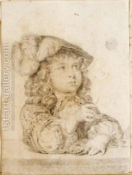 A Boy In A Hat Blowing Bubbles by Dutch School - Reproduction Oil Painting