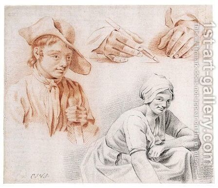 Studies Of A Boy, A Young Woman And Of A Pair Of Hands Holding A Pencil by Carel Jacob Van Slangenburgh - Reproduction Oil Painting