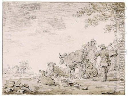 Cows And A Milkmaid In A Landscape by (after)  Jan Van Goyen - Reproduction Oil Painting