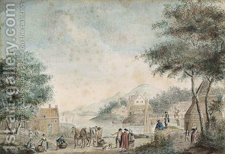 River Landscape With A Couple Buying Wares From Tradesmen by Dutch School - Reproduction Oil Painting