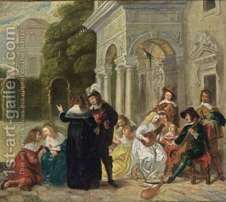 A Courtyard With An Elegant Company Making Music And Conversing by (after) Hieronymus Janssens - Reproduction Oil Painting