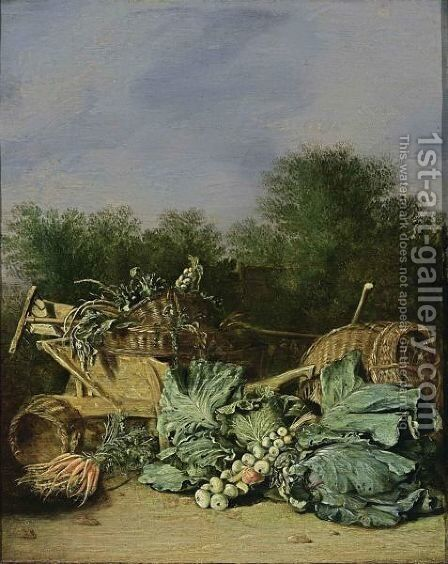 A Still Life With Carrots, Cabbage And Onions Together With Artichokes, Parsley, And Onions In Baskets On A Wheelbarrow With A Rake And A Spade, All In A Landscape Setting by Haarlem School - Reproduction Oil Painting